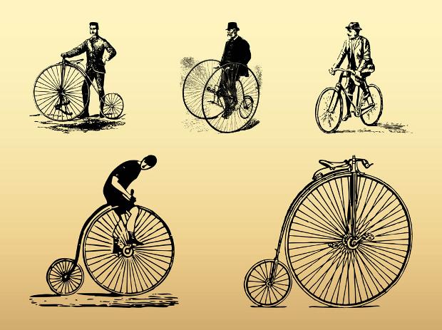 vintage bike vector set