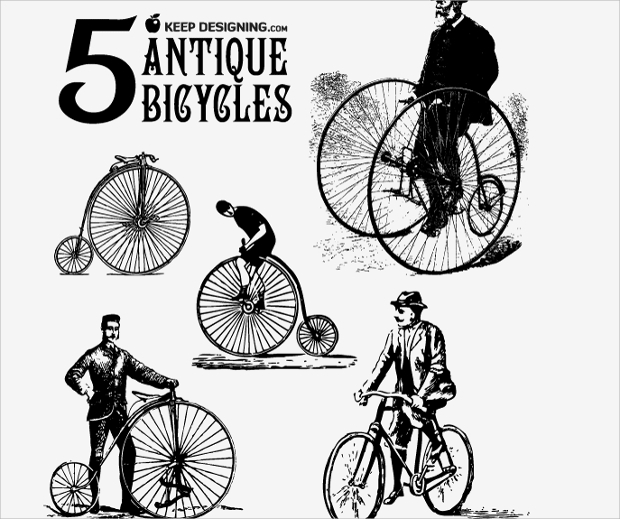 antique bicycle vector