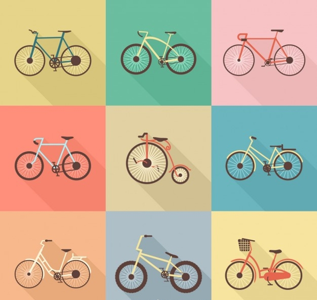 Collection of Retro Bicycle Free Vector