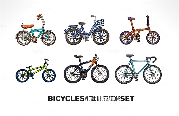 Bicycle Vector Illustration Set