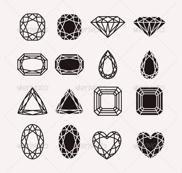 flat diamond icons with pearls and gems