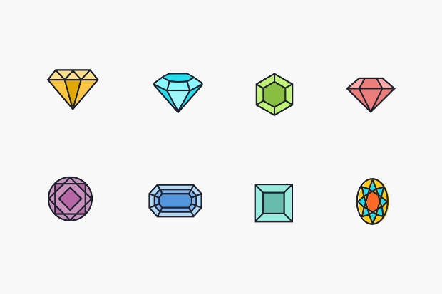 colorful diamond icon set