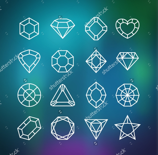 linear diamond icons