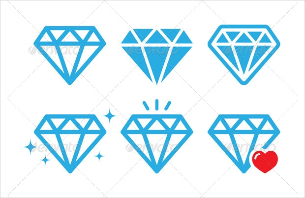 diamond luxury icons set