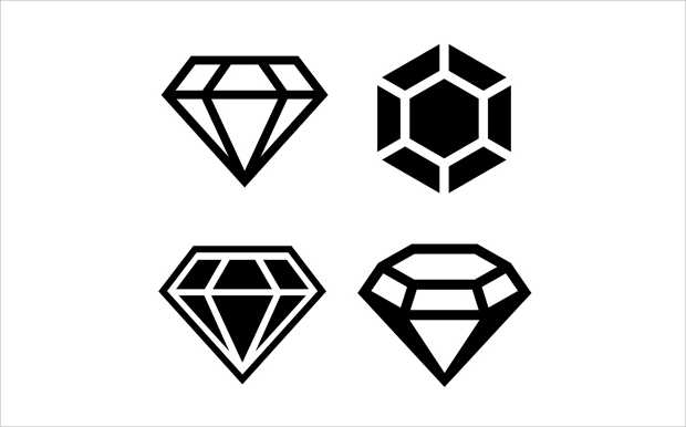 black and white diamond icons