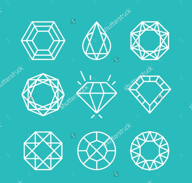 thin line diamond icons