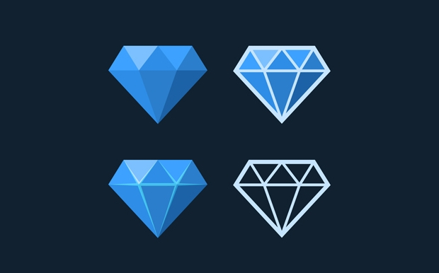 high resolution diamond icon set