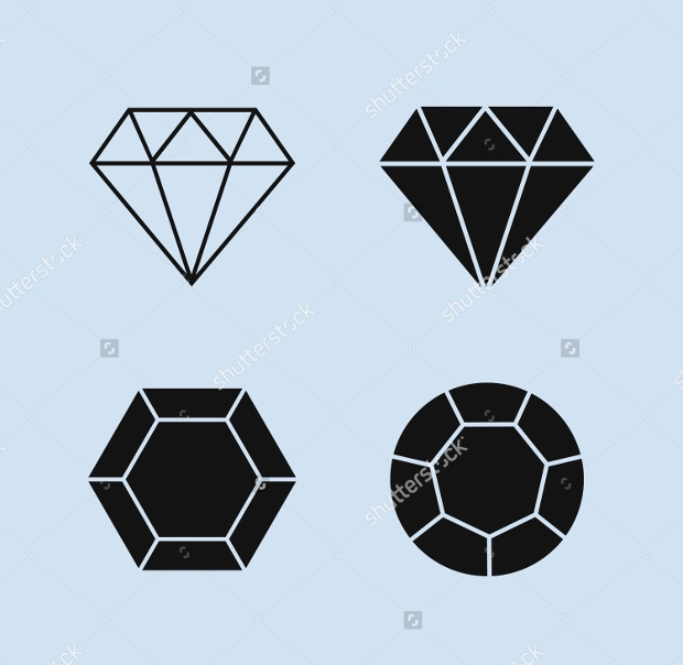faceted black diamond icons