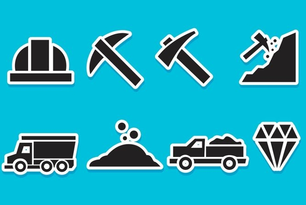diamond mine vector icons