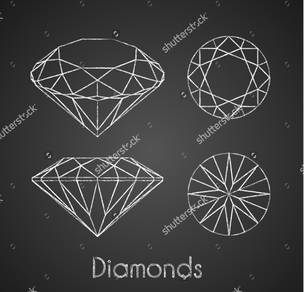 chalk drawn diamond icons