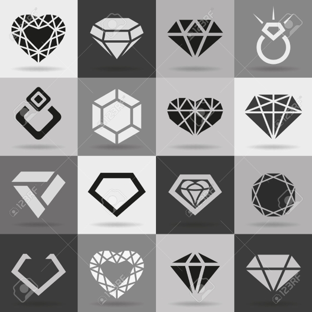 diamond vector icon set