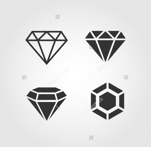 flat design diamond icons