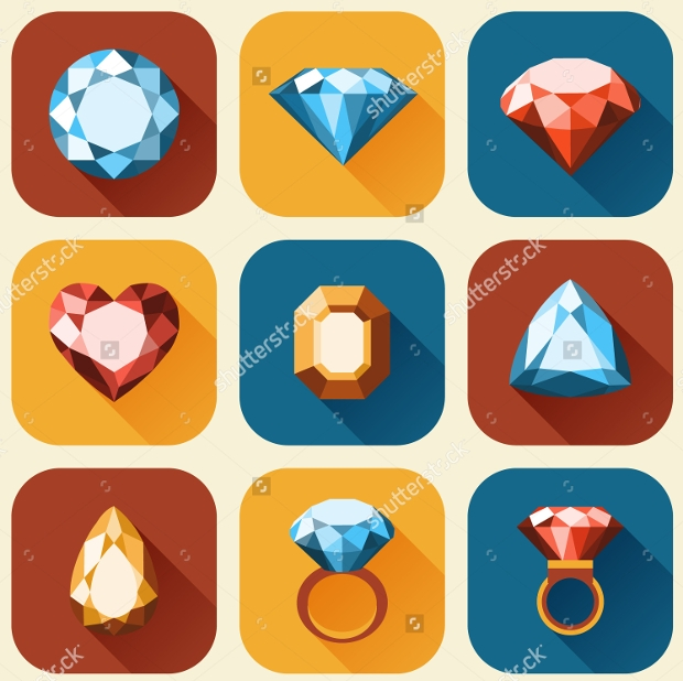 flat diamond icons collection