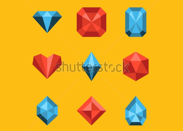 flat colorful diamond icon set