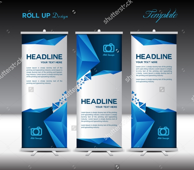 Blue Roll Up Banner template