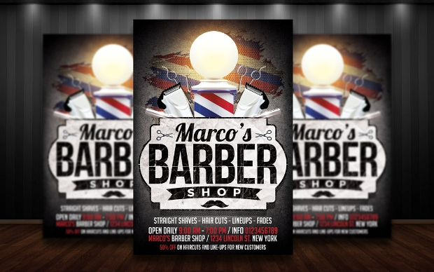Barber shop flyer template by thats design store for Cigar dossier template