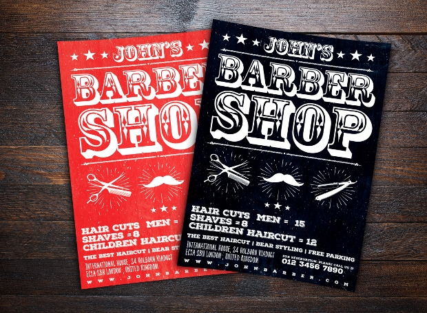 Red and Black Barbershop Flyer Template