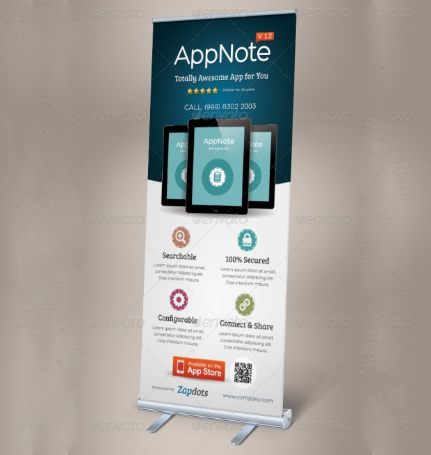 Mobile App Promotion Roll Up Banner Design