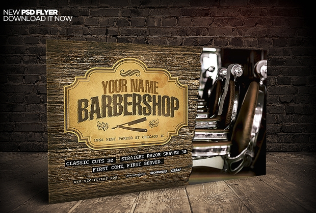Horizontal Barbershop Flyer Template