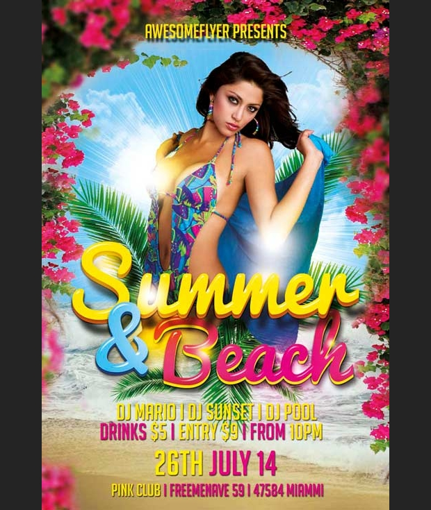 Summer and Beach PSD Flyer