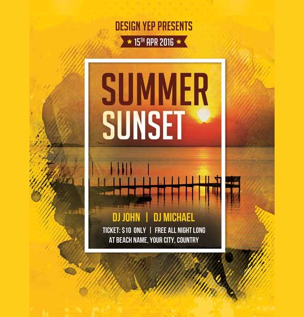 Summer and Sunset Beach Party Flyer