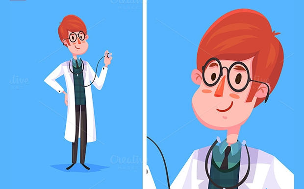 cartoon doctor character vector