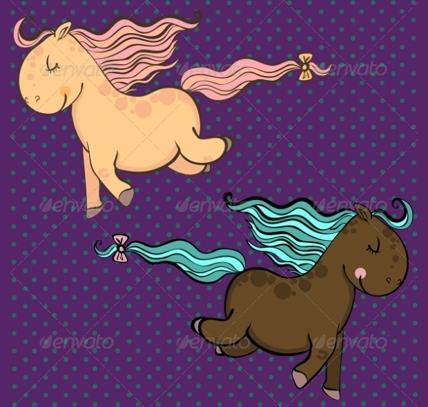 cartoon horses vector