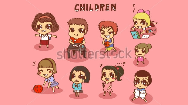 funny cartoon children vector