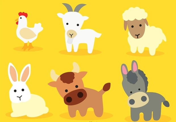 cute cartoon baby animals vector