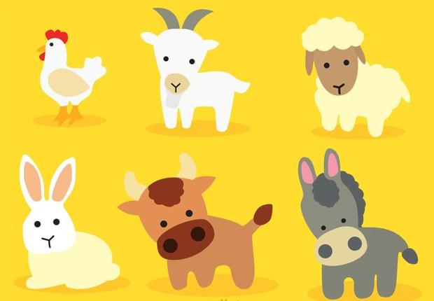 Cute Cartoon Baby Animals Vector