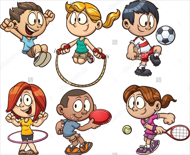 cartoon kids playing vector