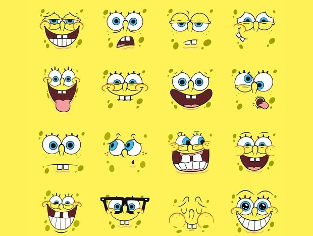 spongebob cartoon face vector