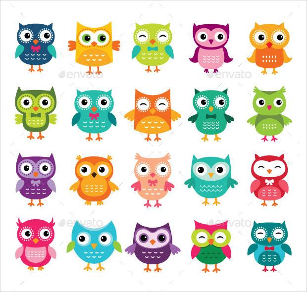 Cartoon Vector Owls