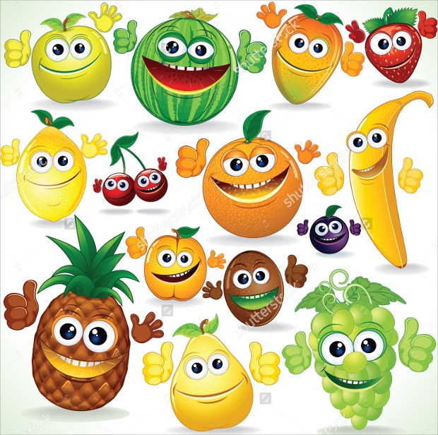 funny cartoon colorful fruit vector