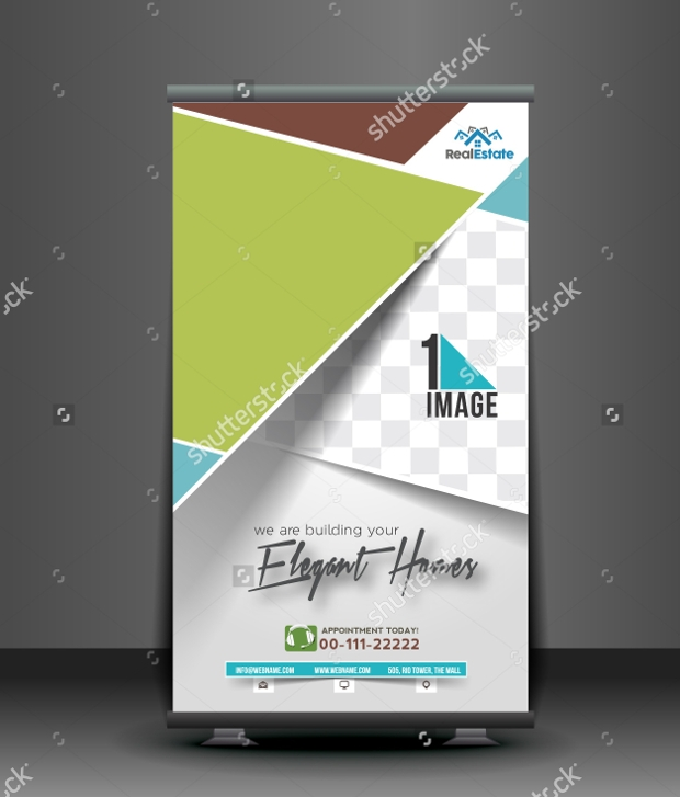 Elegant Homes Real Estate Roll Up Banner Design