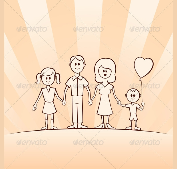 funny cartoon family vector set
