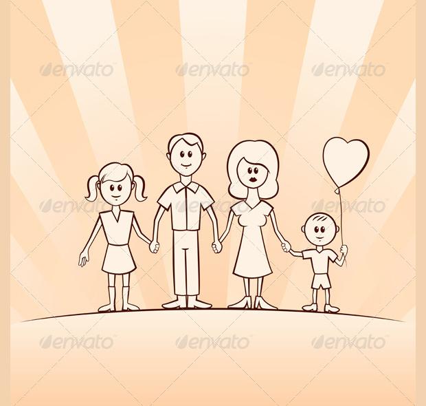 Funny Cartoon Family Vector Set