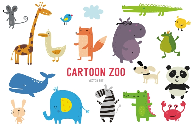 funny cartoon zoo vector