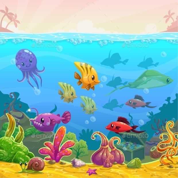 funny cartoon vector underwater illustration
