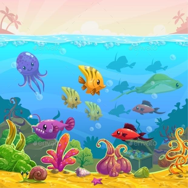 Funny Cartoon Vector Underwater Illustration
