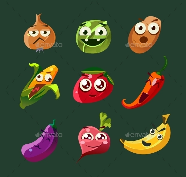 Funny Vegetable and Spicy Cartoon Vector