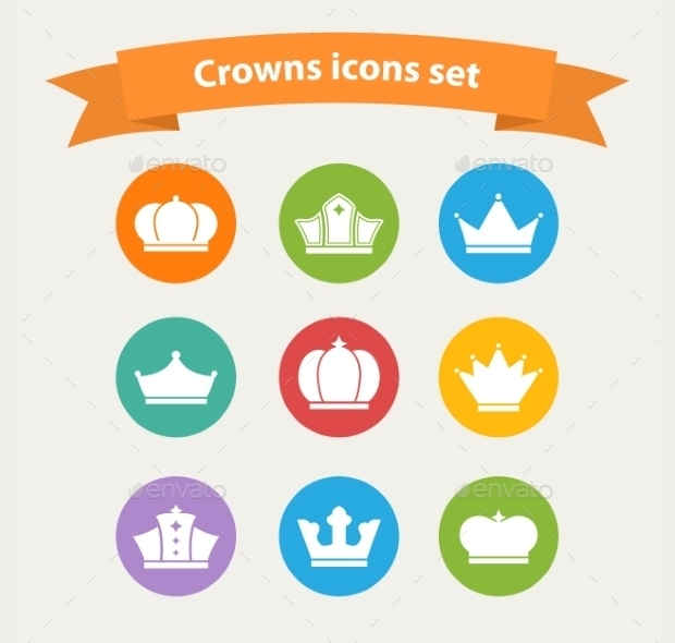 flat crown icons set