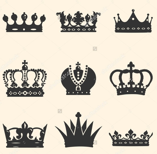 set of royal crown icons