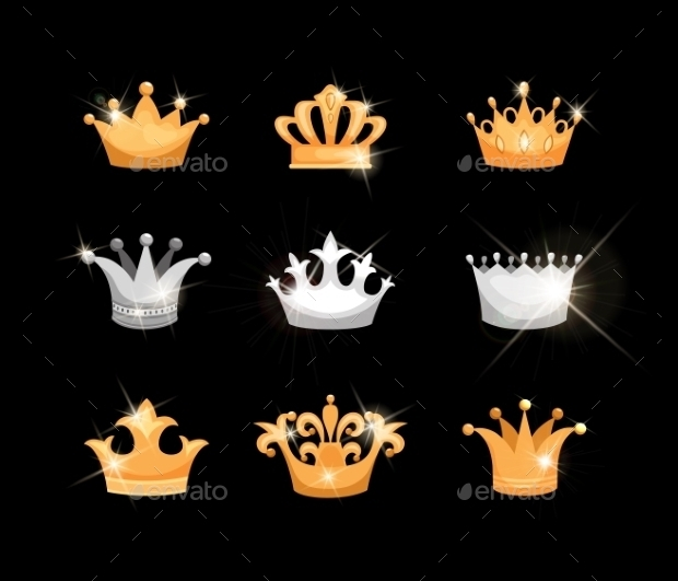 Gold and Silver Crown Icons