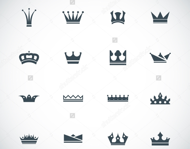 black crown icon set