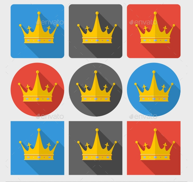 classic crown icon set