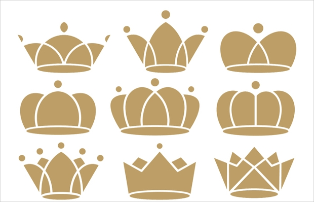 flat brown crown icons