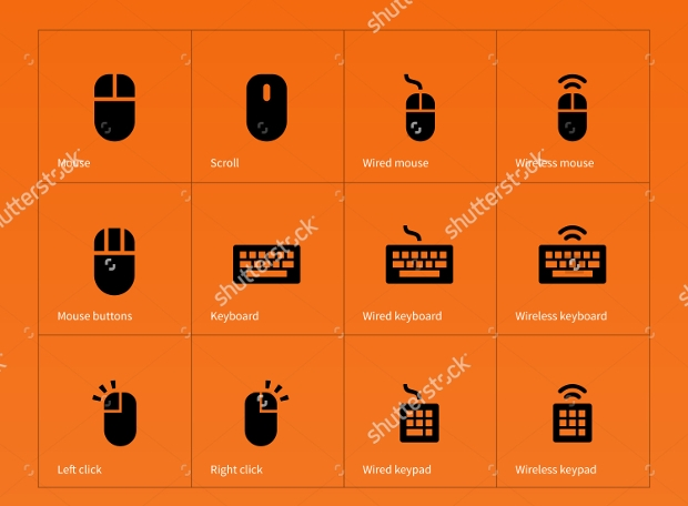 mouse and keyboard icon set