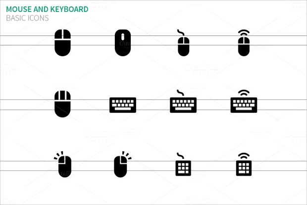 white mouse and keyboard icons