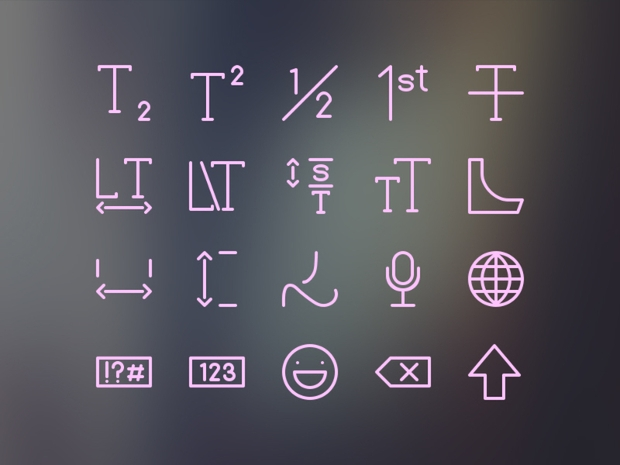 typography and keyboard icons